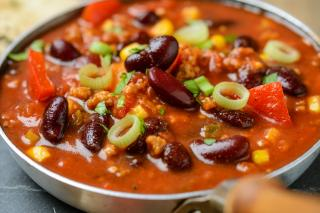 chili, vegan, beans, corn