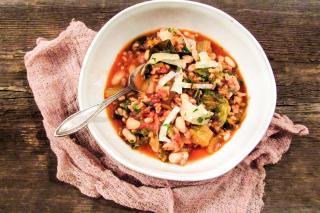 Escarole, soup, farro, grand gourmet, beans