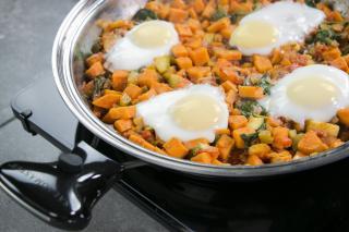 healthy hash recipe, hash recipe, sweet potato recipe, easy eggs