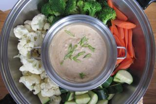 vegetables, dip, broccoli, cauliflower, carrots, zucchini