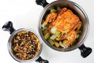 chicken, roasted, vegetables, apples, cinnamon, raisins,