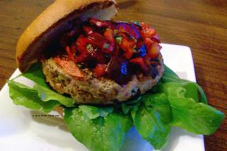 Saladmaster Recipe Turkey-Veggie Burgers with Cherry-Basil Salsa