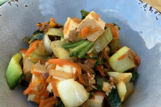 Easy to make filipino style stir fry with vegetables and tofu