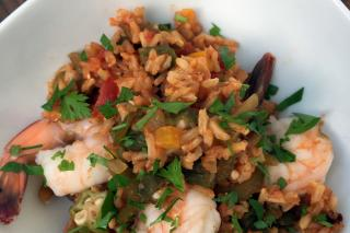 Cajun inspired rice dish with shrimp and okra