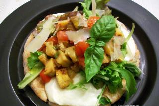 Saladmaster Recipe Eggplant, Tomato & Mozzarella Flatbread Salad by Cathy Vogt
