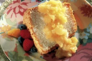 Angle Food Cake with Pineapple Sauce