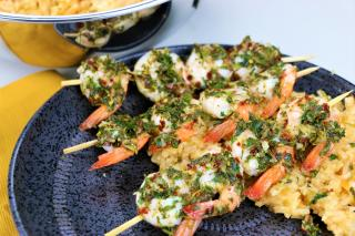 rice, shrimp, seafood, chimichurri, cilantro, grill