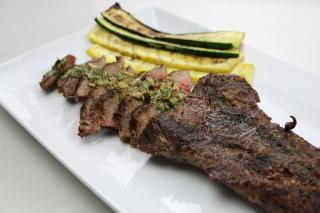 Flank Steak, steak, grilled, grill, vegetables, zucchini, squash, chimichurri,