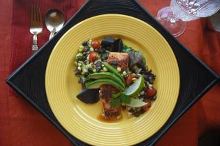 Saladamster Healthy Solutions 316 Ti Cookware: Cilantro Lime Salmon with Roasted corn and Black Bean Relish