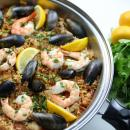 spanish, paella, rice, seafood, chicken, shrimp, mussels, lemon
