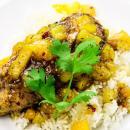 chicken, pineapple, mango, glazed, Caribbean
