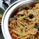 pasta, vegan, vegetarian, chick peas, spaghetti, olives