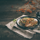 Chicken with Wild Rice and Fig Pilaf