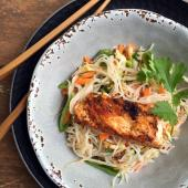 Delicious Thai recipe with grilled halibut and noodle salad