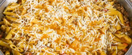 baked ziti, italian, pasta, penne, skillet