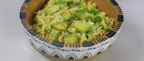 salad, slaw, brussels, sprouts, avocado, dressing,