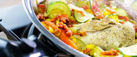 Mediterranean Chicken, one skillet meal, 30 minute meal, chicken recipe