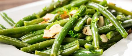 Green beans, almonds, side items