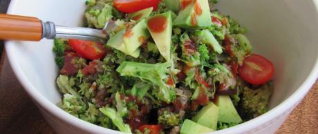 Broccoli, salad, beef