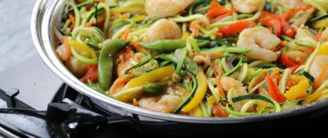 zoodles, one-pan recipes, shrimp, zucchini noodles