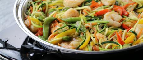 zoodles, one-pan recipes, shrimp, zucchini noodles