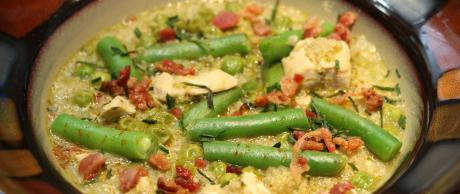quinoa, chicken, green beans, bacon,