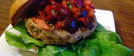 Saladmaster Recipe Turkey-Veggie Burgers with Cherry-Basil Salsa