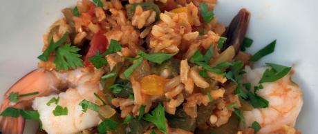Cajun inspired rice dish with shrimp and okra