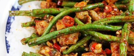 chili paste, spicy, chicken recipes, green beans