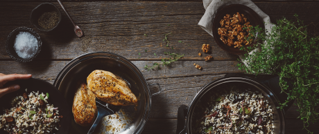 Preparing Chicken with Wild Rice and Fig Pilaf in Saladmaster