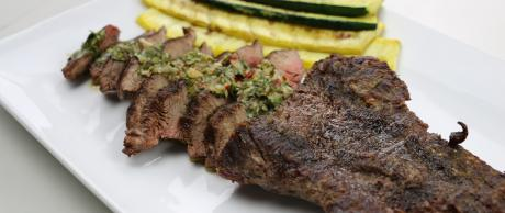 Flank Steak, steak, grilled, grill, vegetables, zucchini, squash, chimichurri,
