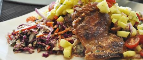 Huli Huli Chicken on Asian Slaw Salad with Pineapple Relish