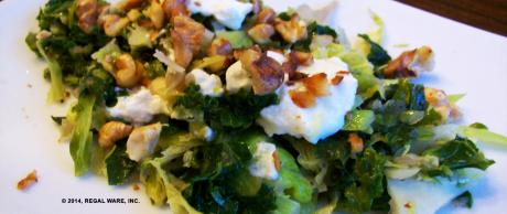 Saladmaster Recipe Kale & Brussels Sprouts with Creamy Goat Cheese